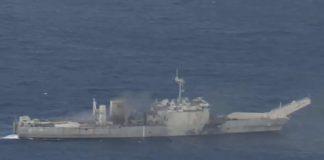 Гибель боевого корабля ВМС США попала на видео