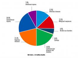 Процент смертей от различных причин, связанныхс употреблениемалкоголя, от общего количества смертей от алкоголя / ©WHO