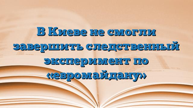 В Киеве не смогли завершить следственный эксперимент по «евромайдану»