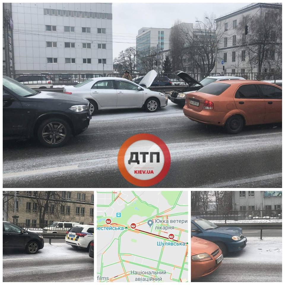 В Киеве произошло 16 ДТП на проспекте Прбеды 5 января - Страна.ua 1