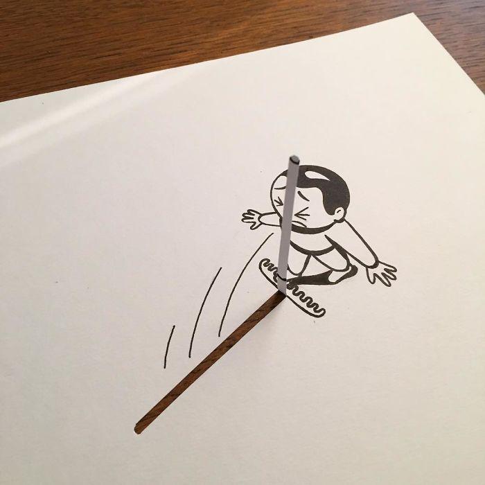 Интересные трехмерные рисунки датского художника. Фото