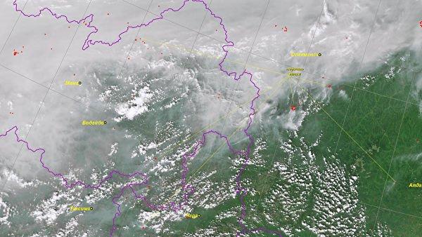 Пожары в Сибири - Мощнейший пожар в России показали на фото из космоса 1